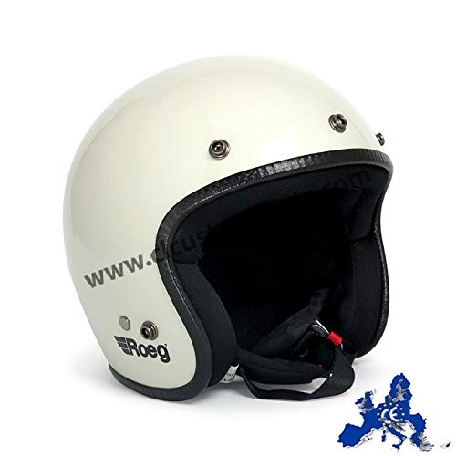 Casco Jet Roeg Helmet Fog White Bianco Lucido Omologato ECE Biker Custom Taglia XL