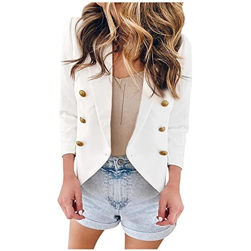 Fankle Womens Casual Business Blazers Open Front Long Sleeve Lapel Long Sleeve Collar Button Work Office Blazer Jacket(J#White,Medium)