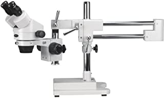 AmScope SM-4B Professional Binocular Stereo Zoom Microscope, WH10x Eyepieces, 7X-45X Magnification, 0.7X-4.5X Zoom Objective, Double-Arm Boom Stand