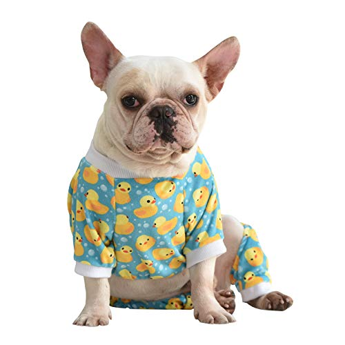 CuteBone Dog Pajamas Yellow Ducks Dog Apparel Dog Jumpsuit Pet Clothes Pajamas Coat Xmas P50M