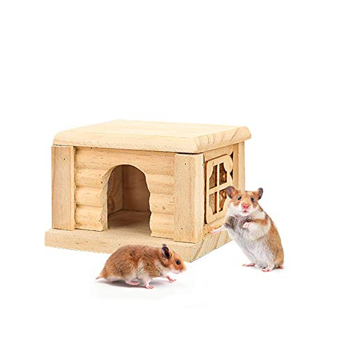 Casa de madera de hámster, casa de madera para ratón Hamsters Gerbil Home, pequeño animal nido, juguete plano de guinea, cerdos de habitación, 10,5 x 9 x 7 cm