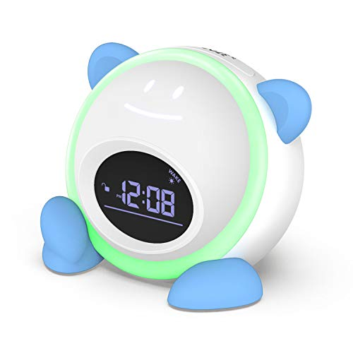 Kids Alarm Clock, Windflyer Toddlers Alarm Clock Children Sleep Trainer Clock with Facial Expressions, Night Light, Nap Timer, Sleep Sound Machine Wake up Light Alarm Clock for Kids Boys Girls Bedroom