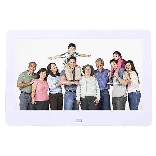 10   Marco digital de fotos,1024 * 600 portátiles, 200 cd ㎡ Brillo Pantalla TFT Escritorio HD de múltiples idiomas, Reloj   Música   Reproductor de video con control remoto,Soporte desmo(EU (blanco))