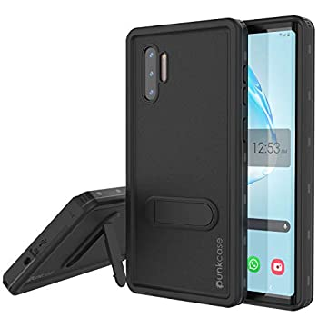 Punkcase Galaxy Note 10 Waterproof Case [KickStud Series] [Slim Fit] [IP68 Certified] [Shockproof] [Snowproof] Cover W/Built-in Kickstand + Screen Protector Compatible W/Samsung Note 10 [Black]