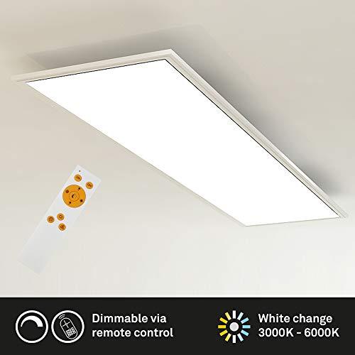 Briloner Leuchten Plafoniera soffitto Dimmerabile, Luce calda neutra fredda, telecomando incluso, LED integrati 23W, 2200 Lm, Pannello Rettangolare Piatto Bianco 23 W, 100 x 25.0 x4.8 cm
