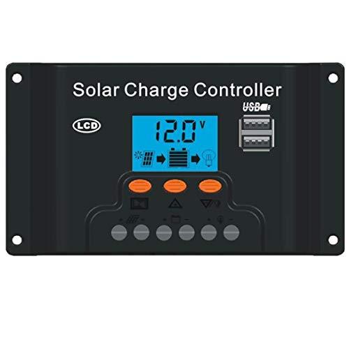 TianranRT Panel Solar Regulador Carga Controlador USB 10/20/30/40A 12-24V con Dual USB, 10A 12V24V