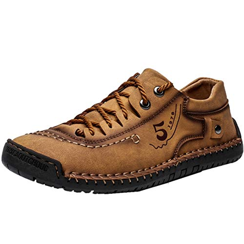 Mens Casual Shoes Handmade Leather Loafers Breathable Slip On Driving Shoes Comfort Flats Oxford Walking Shoes Brown