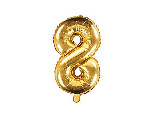 Ballon XXL en aluminium - Chiffre 8 - Doré - Anniversaire - Numéro de l'année - 8e anniversaire - Décoration