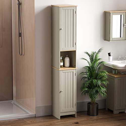 Bath Vida Hoch- & Midischränke fürs Bad, Mitteldichte Holzfaserplatte, Grau, Standard
