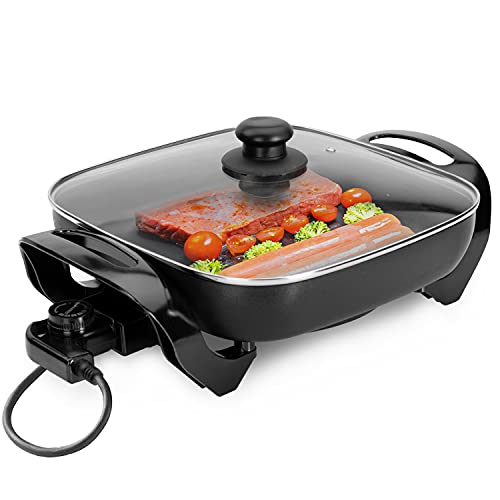 Geepas 1500W Multifunctional Electric Skillet | Multi Cooker Ideal for Frying | Electric Frying Pan with Glass Lid & Non-Stick Surface | Adjustable Heat Setting & Cool Touch Handles | 2 Years Warranty