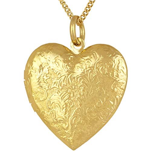 Lifetime Jewelry Antique Heart Locket Necklace That Holds Pictures 24k Gold Plated (Big Gold Locket with Chain)