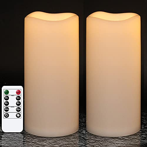 """GenSwin Waterproof Outdoor Flameless Candles with Remote Timer, Battery Operated Large Flickering LED Pillar Candles for Indoor Outdoor Lanterns, Won't melt, Long-Lasting(White, Set of 2, 8"""" x 4"""")"""
