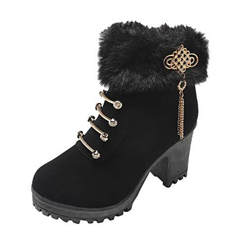 Luckycat Botas Mujer Invierno Botas de Mujer Zapatos de tacón Alto para...