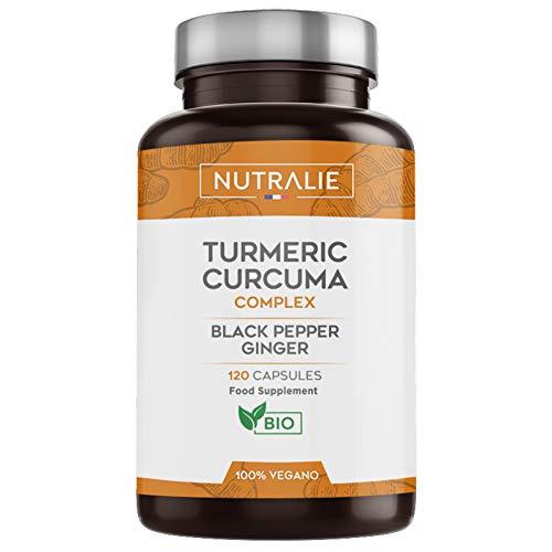 Cúrcuma orgánica Turmeric (650mg) con Jengibre(50mg) y Pimienta Negra(10mg) | 120 cápsulas vegetales | Máxima calidad | Potente antiinflamatorio y antioxidante natural | Cúrcuma complex | Nutralie