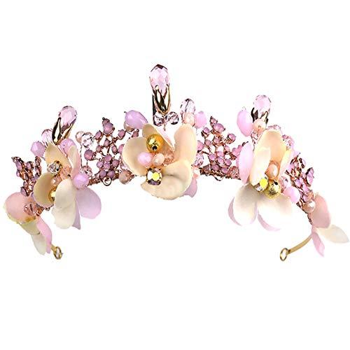 Qinlee Braut Haarreif mit Blumen Tiara Geburtstag Tiara Kristall Strass Krone Tiara Hochzeit Haar Kamm Bridal Geburtstag Stirnband für Frauen Damen-Rosa