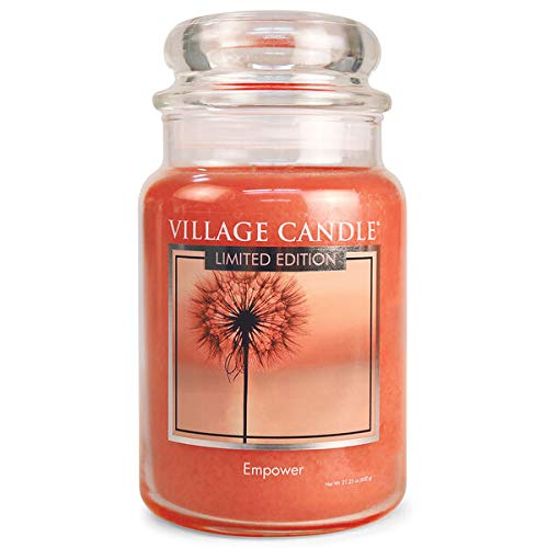 Village Candle Empower Vela aromática en tarro de cristal grande de 26oz