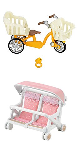 2 Sets - Wheeled Toys - Three Seater Trike and Double Baby Carriage (Japan Import)