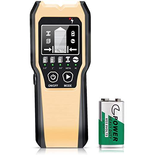 Ortungsgerät, 5 in 1 Multifunktions Wand Scanner Detektor Stud Finder Leitungssucher mit HD-LCD-Display für Metall, Rohre, Holz, Stromleitung, AC Spannungsführenden Scanner Detektor
