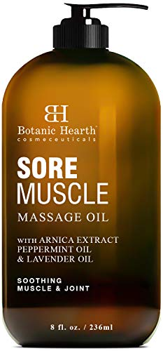 Big Save! BOTANIC HEARTH Sore Muscle Massage Oil - with Arnica Montana Extract and Essential Oils - ...