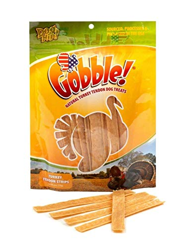 Gobble! 6-Inch Turkey Tendon Strips for Dogs, 6 oz. (170g) Reseal Value Bag, Made in USA, All-Natural Hypoallergenic Dog Chew Treat | Sourced, Processed & Packaged in The USA |
