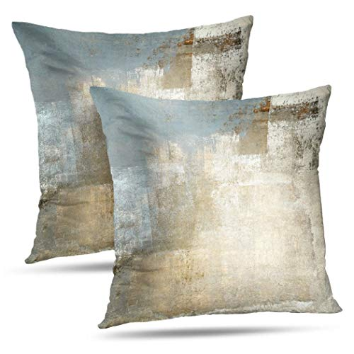 Alricc Grey and Beige Abstract Art Contemporary Pillow Cover, Modern Neutral Decorative Throw Pillows Cushion Cover for Bedroom Sofa Living Room 20 x 20 Inch Set of 2