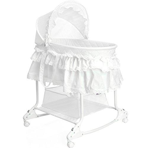 Babywiege/Stubenwagen mit Schaukelfunktion (Abnehmbarer Babykorb) (Weiß)