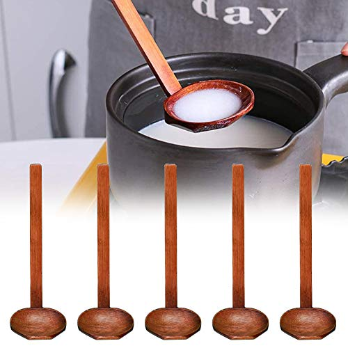 5PCS Japanese Style Wooden Soup Long Handle Large Spoon, Ajisen Ramen Spoon, Tortoise Pot Spoon, Suitable for Porridge Restaurant, Household, Eating Mixing Stirring Cooking, 8.26Inch Length