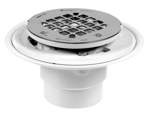 Oatey 42202 PVC Drain with Round Stainless Steel Snap-Tite Strainer, 2-Inch or 3-Inch