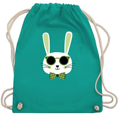 Shirtracer Ostern Kinder - Osterhase Sonnenbrille Grün - Unisize - Türkis - sonnenbrillen kinder - WM110 - Turnbeutel und Stoffbeutel aus Baumwolle