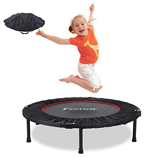 femor Fitness Trampoline Foldable Trampoline for Adult, Two Models, Ø120cm, 3/5-way Height-adjustable Handle Jumping Trampoline Incl. Edge Cover, Weight Up to 150KG, for Indoor/Outdoor