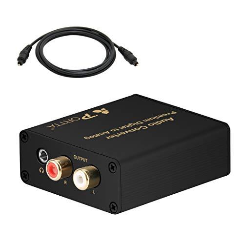 Portta Audio Converter Digital zu Analog SPDIF Optischer Koaxial zu Stereo R / L RCA 3,5 mm DAC 192KHz Metallgehäuse Konverter mit 1pc 1,8m Toslink Kabel für PS3 PS4 XBox 360 HDTV Blu Ray DVD TV