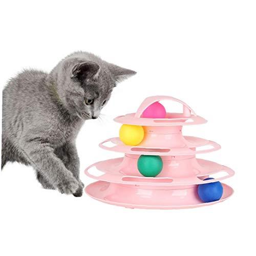 1pc Gato De Juguete Roller 4 Nivel Torres Caminos De Rodillos Con Cuatro Bolas De Colores Para Mascotas Interactivo Juguete Divertido Mentales Ejercicio Físico Puzzle Juguetes (rosa) Mascota De La