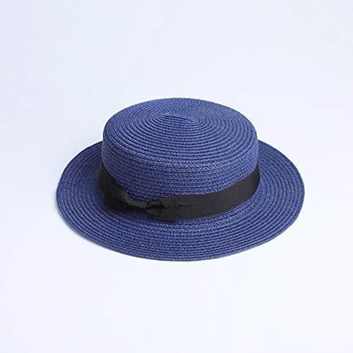 Sombrero de Paja Plano para el Sol para Padres e Hijos, Sombrero de canotero, Sombreros de Verano para niñas, para Mujeres, Sombrero de Paja Plano para niños y Playa-a8-Adult 56-58cm