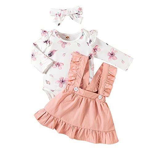 Conjunto de ropa de beb nia con volantes de manga larga para beb, rosa, 6-12 Meses
