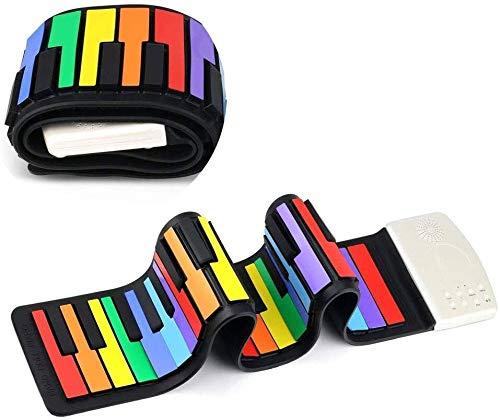 Portátiles teclado de piano digital, portátil de 49 teclas de silicona de rueda for arriba el piano electrónico del teclado de piano chico vida del instrumento de música digital wxt
