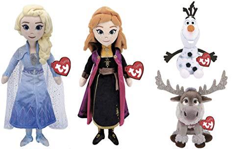ReBL LLC Ty Sparkle Disney Movie Frozen 2 Plush Stuffed Animal Dolls Toys Bundle (Elsa & Anna)
