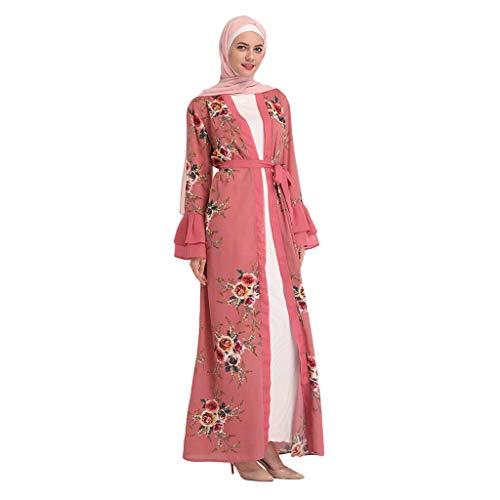 QHJ Frauen Moslemischer Sommer Spitze Mode Schwarz Spitze Digitaldruck Bestickte Strickjacke Roben (Rot, XXL)