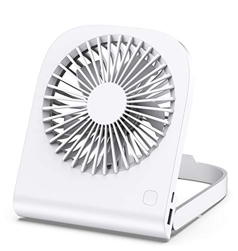 Mini Ventilador USB Silencioso, iHoven Portatil Pequeño Potente Ventilador De Mesa, Cuatro Velocidades 4800mah 14 Horas De Enfriamiento Plegable Ventiladors Personal Fan Para Oficina Hogar Viajar