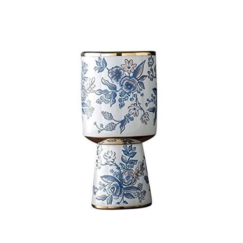Jarrón de cerámica vintage, para sala de estar, pasillo, florero, comedor, bar, florero, arreglo de flores, florero decorativo (tamaño: 9 x 23 cm)