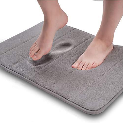 donado ナ滑り止めマット超柔らかベルベット記憶バブルマットは、快適、柔軟、超吸収力が強く、洗濯機洗い可能、厚手、乾燥しやすく、バスルーム台所など様々な場所に使われます (60cmX40cm) (灰色)