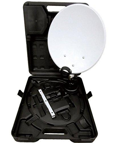Opticum 9058 camping/balkon SAT-systeem met koffer (HDTV, 3D, UHD, EasyFind Single LNB, 10 m kabelring) lichtgrijs