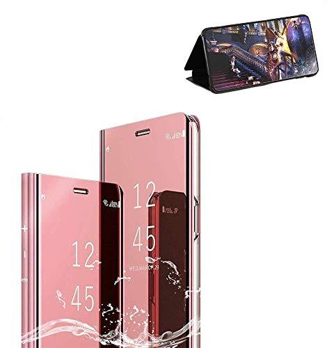 Samsung Galaxy S7 Edge Cover, Rose Oro Galaxy S7 Edge Custodia Protettiva Specchio Portafoglio Clear Standing Flip Case Caso Skin Protezione Durevole, Compatibilita esatta per la Galaxy S7 Edge