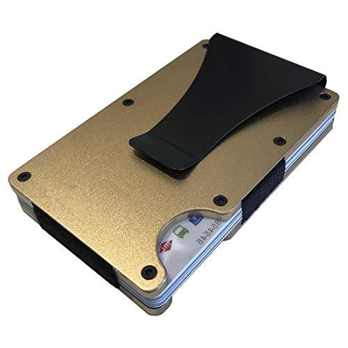 Cartera Tarjetero con tecnologia de Bloque RFID para Evitar clonación de Tarjetas de credito/Tarjetero Billetera Carteras para Hombre y Mujer/Fabricada en Aluminio con Clip para Billetes