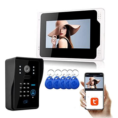 Tuya Timbre con video WiFi, intercomunicador, tarjeta RFID, contraseña, videoportero de seguridad para el hogar, teléfono, pantalla de monitor de 7 pulgadas + cámara de visión nocturna 1080P