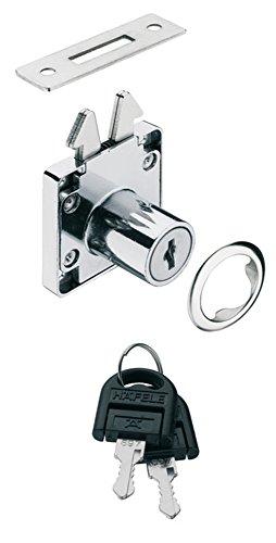 GedoTec® meubelslot, rolluikslot, schroefslot, set voor schuifdeuren en rolluiken, verchroomd gepolijst staal, schuifdeurslot met doornmaat: 24,5 mm, merkkwaliteit voor je woonkamer 1 Stück Metall Chrom Poliert