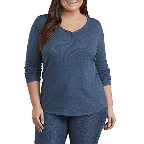 Dickies Long Sleeve Henley-Plus Camisa, Color Azul Vaquero Oscuro, Tallaúnica para Mujer