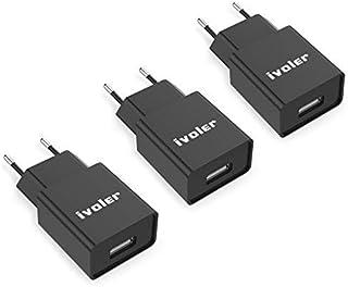 [3 Pack] ivoler Super Mini Caricatore da Muro Portatile a 1 Porte (5W/ 1A) per iPhone Caricabatterie USB Alimentatore Cari...