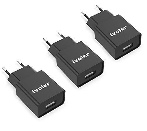 [3 Pack] ivoler Super Mini Caricatore da Muro Portatile a 1 Porte (5W/ 1A) per iPhone Caricabatterie USB Alimentatore Caricatore da Parete per iPhone, iPad, Galaxy, Huawei,ASUS- Nero