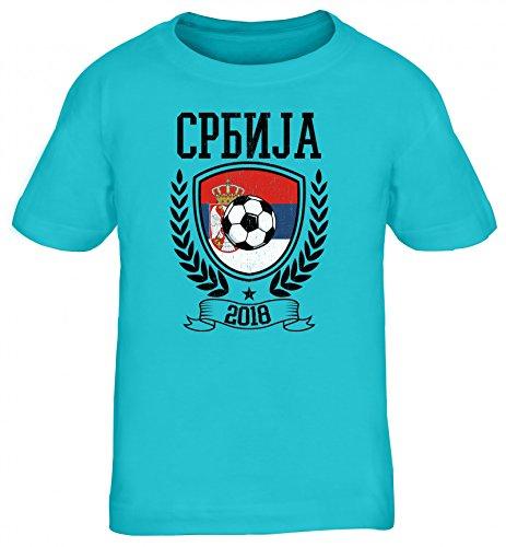 Serbien Fußball WM Fanfest Gruppen Fan Kinder T-Shirt Rundhals Mädchen Jungen Pokal Serbia 2018, Größe: 134/146,türkis