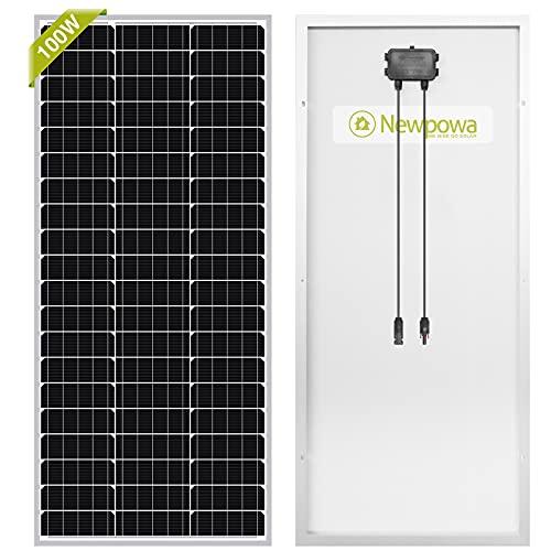 Newpowa®, pannello solare, 100 W (Watt), 12 V (Volt), monocristallino, ad alta efficienza, fotovoltaico, per camper, case, giardino, barche